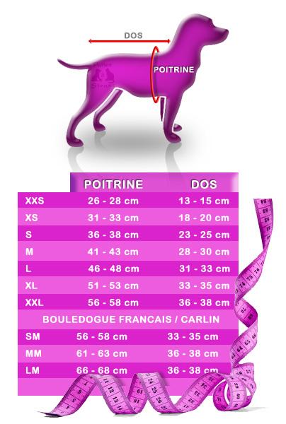 Guide des tailles vêtements chien - PATTES A STRASS PARIS