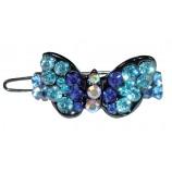 Barrette strass papillon bleu